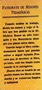 """Texto informativo que se podía encontrar en los libros de las bibliotecas de las Misiones Pedagógicas. En """"Las Misiones Pedagógicas, 1931-1936"""" Residencia de Estudiantes, 2007."""